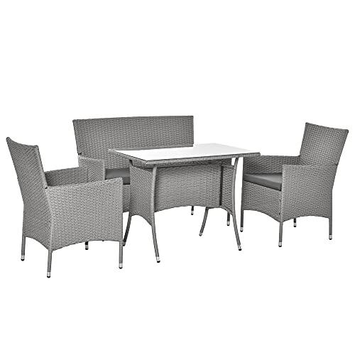 Salon de Jardin 4 Places 4 pièces - canapé 2 Places, 2 fauteuils, Table à Manger - 3 Coussins Inclus - résine tressée Imitation rotin Gris