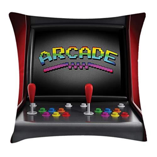 Videogiochi Fodera per cuscino, cuscino per videogiochi, macchina da gioco, giochi retrò, divertenti pulsanti del joystick, vintage anni '80, anni '90, elettronico, quadrato decorativo 18 x 18 pollici
