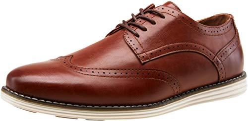VOSTEY Men's Dress Shoes Casual Dress Shoes for Men Wingtip Oxford Shoes Business Dress Shoes (BMY617 Oxblood Size 10)
