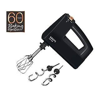 Krups-3-MIX-7000-Handmixer-60-Jahre-Edition-F6085-500W-ergonomischer-Griff-165m-langes-Kabel-Geschwindigkeitsregler-Schneebesen-Knethacken-aus-Edelstahl-bis-zu-1kg-Brotteig-SchwarzKupfer