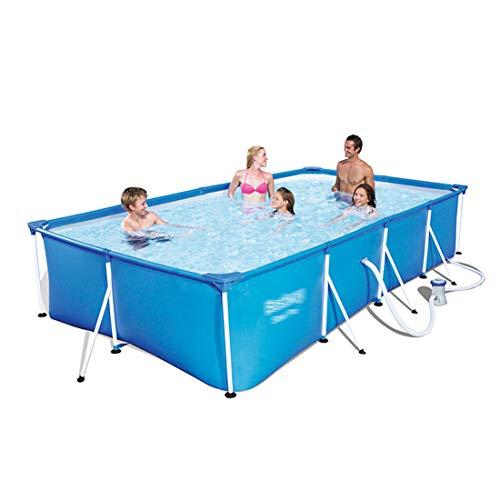 YKHOME Grande Piscina, Centro di Nuoto per Bambini E Adulti,con Staffa in Tubo d'Acciaio, Rettangolare da Giardino Stagno da Pesca di Grande capacità Ispessito Blu,4m × 2.11m × 81cm