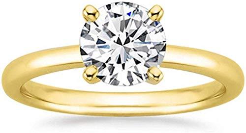 JewelsForum 1/2 Quilate 14Ct Oro Macizo 0.50Cttw Solitario Diamante Natural Anillo De Compromiso Anillo De Boda Certificado Con Sello De Contraste (Color Hi, Claridad I1 / I2) (Oro Amarillo)