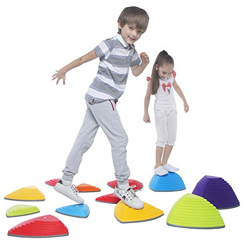 New Special Supplies 12 Stepping Stones for Kids Indoor and Outdoor Balance Blocks Promote Coordinat...
