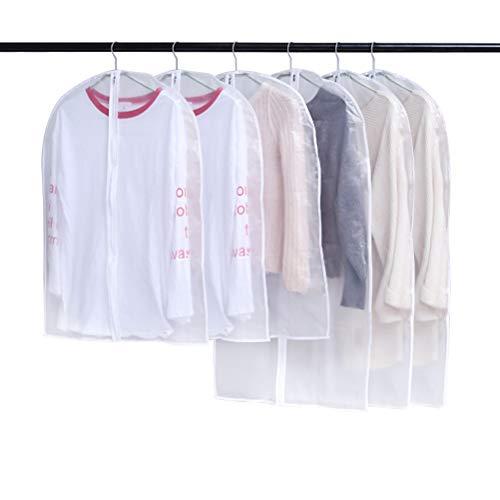 BUYGOO 6 st plaggväskor fodral med dragkedja för män kvinnor klara jackor väskor skydd dammtäta kläder förvaringsväskor skydd med 2 storlekar, tvättbara plagg skyddsväskor för kostym, rock, jacka, klänning etc