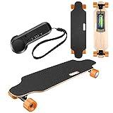 OppsDecor青年电动滑板,带无线遥控的电子长板电动,最高速度12 MPH,7层枫木电子滑板(橙色)