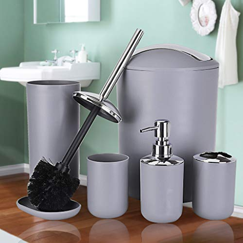 YoYoly Bathroom Accessories Set 6 Piece Bath Ensemble Includes Soap Dispenser, Toothbrush Holder, Toothbrush Cup, Soap Dish for Decorative Countertop and Housewarming Gift (Grey)