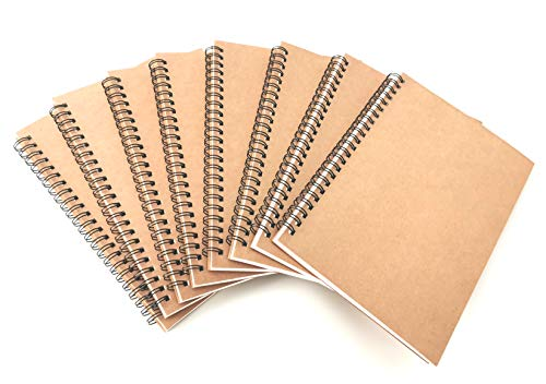 Compare Textbook Prices for VEEPPO A5 Wirebound Notebooks Bulk Journals Spiral Steno Pads Blank/Lined Kraft Brown Cardboard Cover Thick Cream Writing Pad Sketchbook Scrapbook Album Graph Grid-Pack of 8  ISBN 0695937394362 by