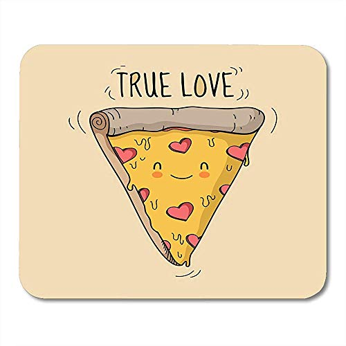 Appetitanregendes lebhaftes lächelndes nettes Pizza-Dreieck mit Käse und Salami in Form von Herzen simsen wahres stilvolles perfektes Schreibtisch Mousepad 30x25CM