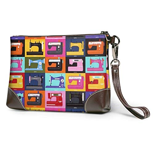 GLGFashion Carteras de cuero para mujer Sewing Machine Hard Anti-Scratch &Fingerprint Women's Leather Wristlet Clutch Purses Portable Makeup Cosmetic Bag Handbag Organizer Wallet With Zipp