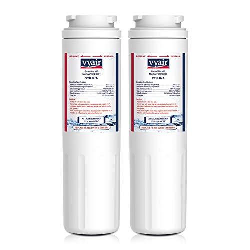 Vyair VYR-07A Reemplazo cartucho filtro de agua de la nevera para Maytag UKF8001, Amana, Jenn-Air PUR Puriclean II, UKF8001AXX, UKF9001; Whirlpool/KitchenAid 4396395, EDR4RXD1; Viking RWFFR; SK535 (2)