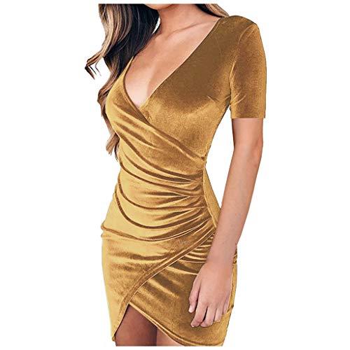 BaZhaHei Damen Sommermode Sexy V-Ausschnitt Wrap vorne Geraffte asymmetrische Saum solide Etuikleid Minikleid Sommerkleid Strand Kleider Bohemian Strandkleid (L, Braun)