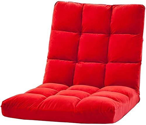 フロアチェアレッグリクライニング6速調節可能なソフトベルベットの寝室のリビングルームの金属フレームベアリング重量120 kg 110 x 555 x 10 cm(色:赤)