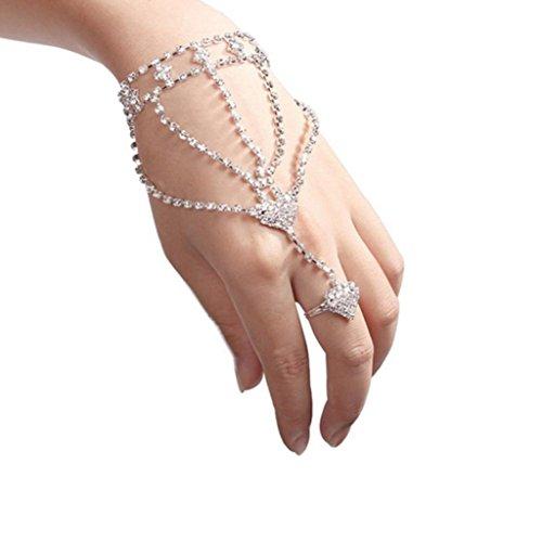 Funic 1PC Fashion Women Girls Rhinestone Hand Bangle Chain Link Finger Ring Bracelet