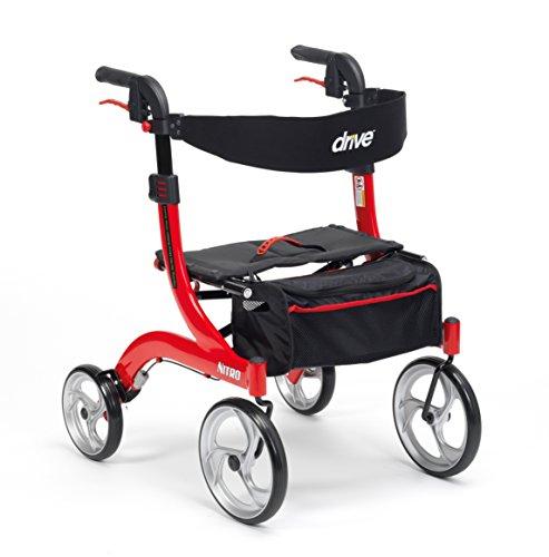 Drive Nitro Mini 4 wielen Premium Rollator met rugleuning, zitting en tas, Rood