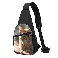 ワンショルダーバッグ メンズ 斜めがけ胸バッグ ボディー肩掛けバッグ 小型手提げバッグ 出張 通勤 通学用 尖耳 ねこ 猫柄