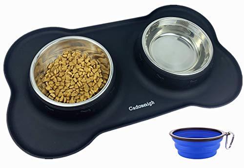 Cadosoigh Comedero para Gatos Perros Mascotas de Acero Inoxidable(2X400ml) con Base de Silicona Antideslizante,con Tazón Plegable