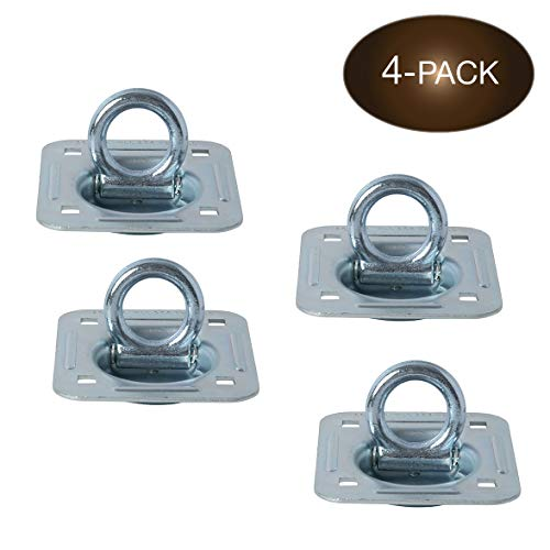 4 Pack | D-Ring Tie-Down Anchors (Large Square), Recessed Pan Fitting D-Rings Heavy Duty Steel Cargo Tie-Downs,Truck/Trailer/Flatbed/Pickup Anchor, Note: Plate and Hardware NOT Included.