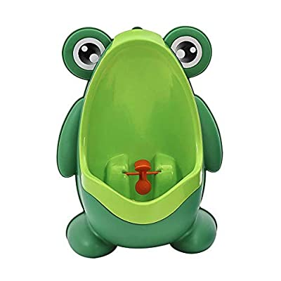Fine Baby Urinal, Cute Portable Frog Standing Potty Training Urinal, Wall-Mounted Urinal for Pee Trainer with Funny Aiming Target (Green)