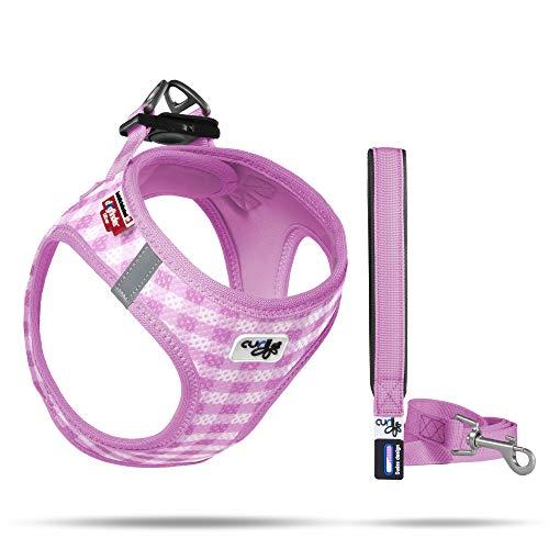 Curli Vest Geschirr Air-Mesh + Basic Leine, Pink-Caro