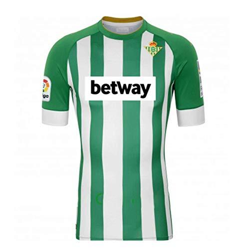 Casa de fútbol 2020-2021 Betis Soccer Traje Camiseta, Green and White Home Court Logo Manga Corta Jersey L
