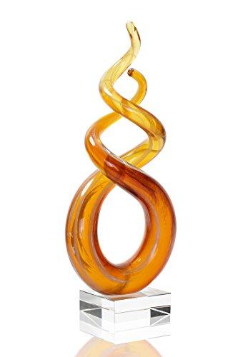 levandeo Hochwertige Designer Glas-Skulptur mit transparentem Sockel - Unikat - 24x9cm - Orange Rot Farbverlauf Sonnenuntergang einzigartige Glas-Figur Dekofigur Dekoelement Design