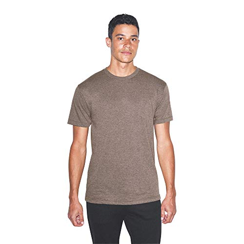 American Apparel Unisex Tri-Blend Crewneck Track Short Sleeve T-Shirt - USA Collection, Tri-Coffee, Large