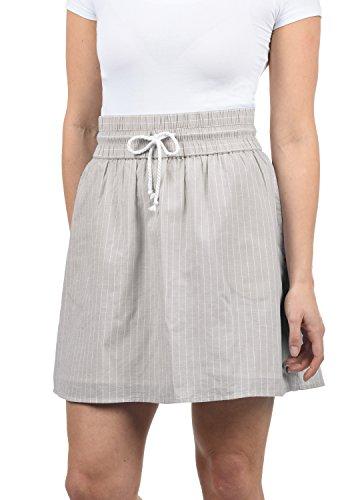 BlendShe Anno Damen Kurzer Rock Sommerrock Mit Taschen und Kordelzug Aus 100% Baumwolle Midi, Größe:M, Farbe:Opal Gray Stripe (20058)