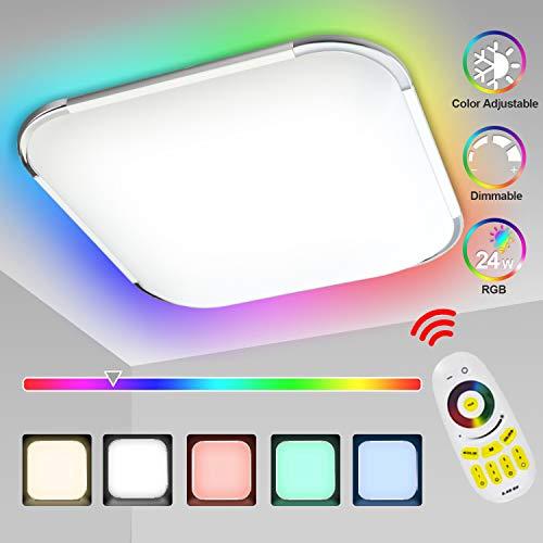 Hengda 24W RGB LED Deckenleuchte, Deckenlampe Dimmbar, RGB Farbwechsel, Kalt bis Warmwei(2700-6500K), Schlafzimmerlampe, Wohnzimmerlampe, Kinderzimmerlampe mit Fernbedienung, IP44 Schutzart