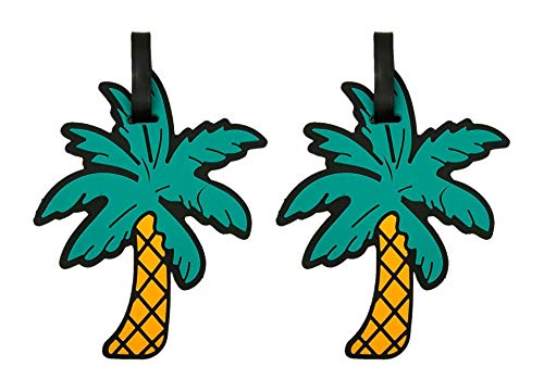 Luggage Tags Tropical Beach Palm Tree for Suitcases or Backpacks, 5 3/8 Inch, Pack of 2