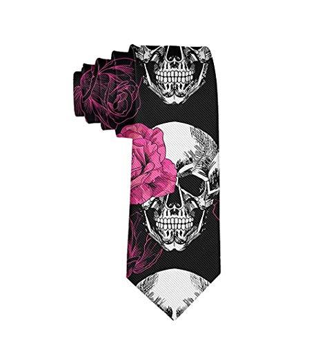 Corbata de moda para hombre Corbata de calavera de rosas rosadas Corbata de un tamaño