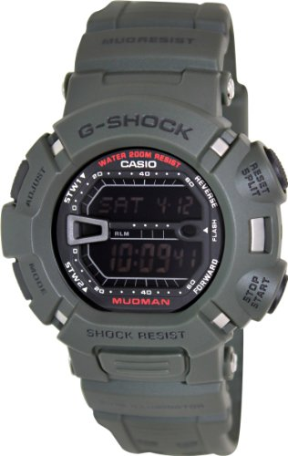 Casio Men's G9000-3V G-Shock Green Mudman Digital Sports Watch, Black