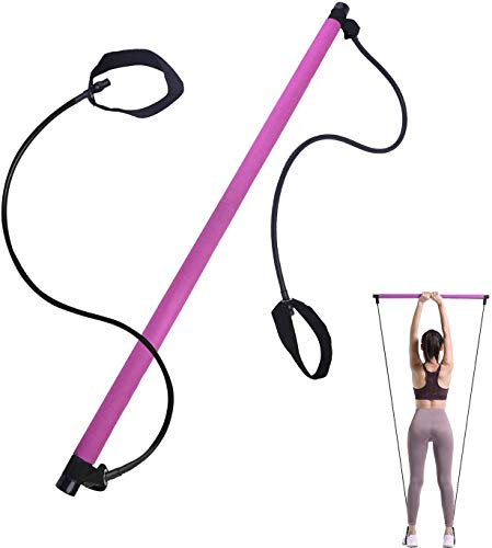 Iwinna Pilates Bar Exercise Resistance Band, Portable Pilates Stick, Muscle Training Exerciser, Weight Losing, Stretch, Sit-Up, Shape Up, Fitness Equipment for Women