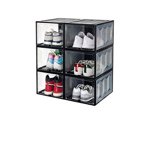 starogegc Magnetic Drop Front Shoe Storage Box, Foldable Plastic Shoe Organizer 6 Pack (Large) Stackable - 14.2inch11.2inch8.5inch - Black & Clear