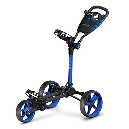3 Wheel Golf Push Cart - Lightweight Folding Golf Walking Push Cart Roller Golf Bag Holder w/ Upper/Lower Bracket w/ Elastic Strap, Scorecard Storage Compartment - SereneLife SLGCFLW