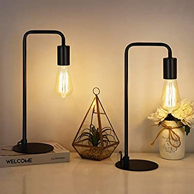 HAITRAL Industrial Table Lamps - Vintage Nightstand Lamps Set of 2, Bedside Lamps for Bedroom, Office, Living Room, Black