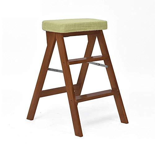 CHAIR Silla Plegable, Portátil de Nogal con Esponja de Escalera, Adecuada para Cocina, Sala de Conciertos, Barbacoa, Dormitorio,una