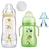 MAM - Juego de biberones Easy Active Baby Bottle Set Uni // 1 botella para bebé de 330 ml con tetina tamaño 2 // 1 entrenador MAM con tetina y boquilla suave