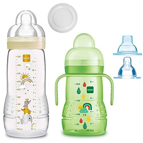 MAM bouteilles Biberons Easy Active Baby Bottle Set////1 x Baby Bottle 330 ml avec tétine Taille 2//1 x MAM Trainer Uni avec aspirateur & Soft à bec