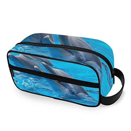 Make-uptas 3 dolfijnen zwembad Blue Water Travel draagbare portemonnee toilettas opberggereedschap cosmetische trekkoffer