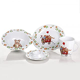 Cmielow Fine China Porcelain Childrens Dinnerware Set with Toy Wagon Design Hand Made in Poland