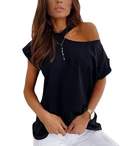 ORANDESIGNE Damen Kurzarm T-Shirt Herzmuster Drucken Tee Shirt Sexy Schulterfrei Oberteile Casual Grafikdruck Pullover Tunika Tops H Schwarz L