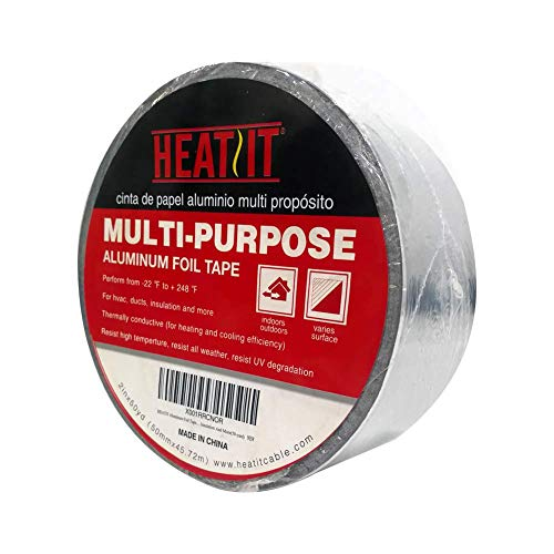 HEATIT aluminum Foil Tape Professional grade-2 inch x 150 feet (50 yards) length Thick 5.3mil (2.4mil foil and 2.9mil backing paper)For HVAC, Ducts, Pipes, Metal repair, Heating Cable application etc