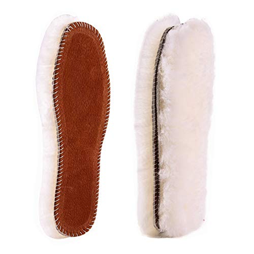 Bacophy 2 Pairs Sheepskin Fleece Inserts Genuine Thick Insoles for Women, Premium Warm Fluffy Wool Replacement Cozy Breathable Inner Soles for Shoes Boots Slippers