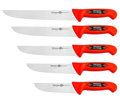 Solingen 4678 R - Juego de cuchillos de carnicero (5 piezas, 15-26 cm), color rojo