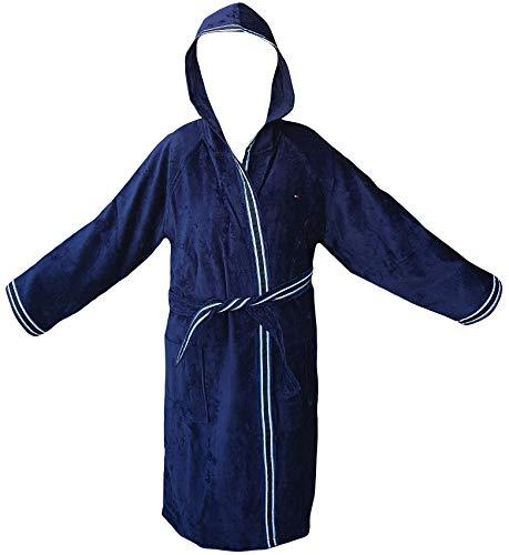 Tommy Hilfiger - Albornoz Kimono con capucha TG S M L XL XXL 100% rizo puro algodón hombre mujer (azul marino, XL - 52/54)