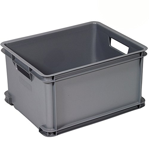 Box Stapelkiste aus Kunststoff sehr robust 30 Liter grau Stapel Kiste Stapelbar Lagerkiste Aufbewahrungsbox Transportbox Kunststoff Box Spielzeugkiste Organizer Büro Aufbewahrung mit Handgriff stabil