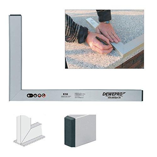 DEWEPRO® Aluminium Bauwinkel 90° mit Anschlagsleiste - Winkel - Maurerwinkel - Anschlagwinkel - Profilwinkel - Aluwinkel - 120x60cm