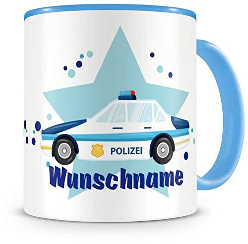 Samunshi® Kinder-Tasse mit Namen und einem Polizei-Auto als Motiv Bild Kaffeetasse Teetasse Becher Kakaotasse Nr.3: blau H:95mm / D:82mm