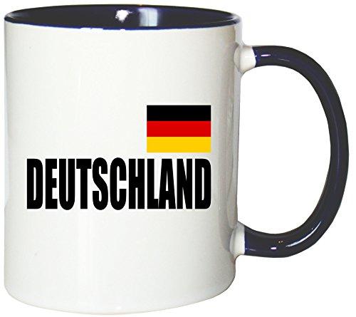 Mister Merchandise Kaffeetasse Deutschland Fahne Flag Teetasse Becher, Farbe: Weiß-Blau