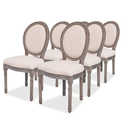 vidaXL 6X Sillas de Salón Comedor Diseño Clásico de Lino y Madera Beige